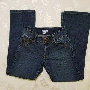 Cabi dark wash jeans -leather details sz 10